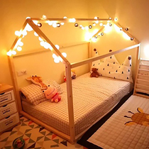 ins explosion models Children bed boy girl single bed with guardrail solid wood floor bed frame indoor tent game house