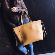 On the new Big bag women 2018 new Pure Color simple temperament tot bag large capacity shopping bag handheld shoulder bag