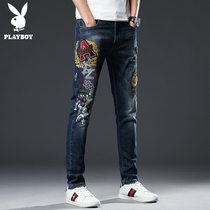 Playboy embroidery jeans men's Tide brand spring embroidery slim stretch feet pants personality retro men's pants