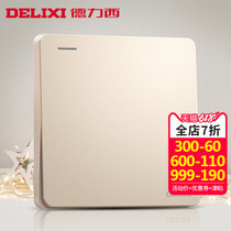 Delixi switch socket champagne gold flat plate a double Control switch 86 household power supply wall panel