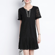 Big size women fat mm2019 new summer fat sister lace black French retro shade dress skinny