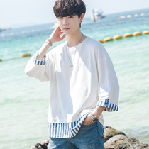 2019 summer new Korean version of the loose trend of short-sleeved T-shirt male 5 five-point sleeve 7 seven-point sleeves student Hong Kong trend brand