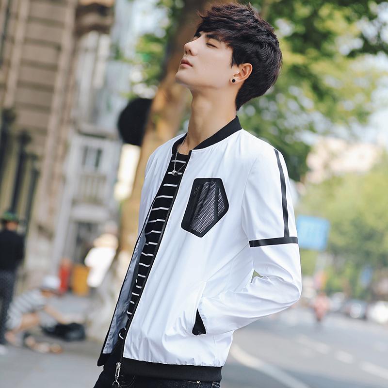 男士外套2017秋季新款修身夹克帅气拉链立领潮男上衣棒球服短外套