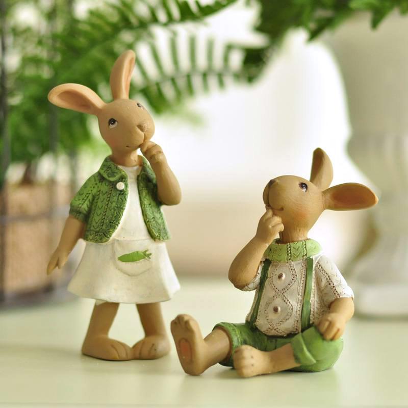 米子家居 zakka田园装饰品创意礼品电视柜摆件生日礼物 可爱兔子