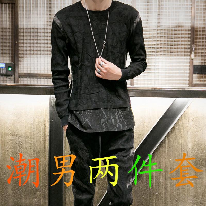 2017秋季男士韩版修身时尚帅气潮流休闲套装发型师两件套夏季新款
