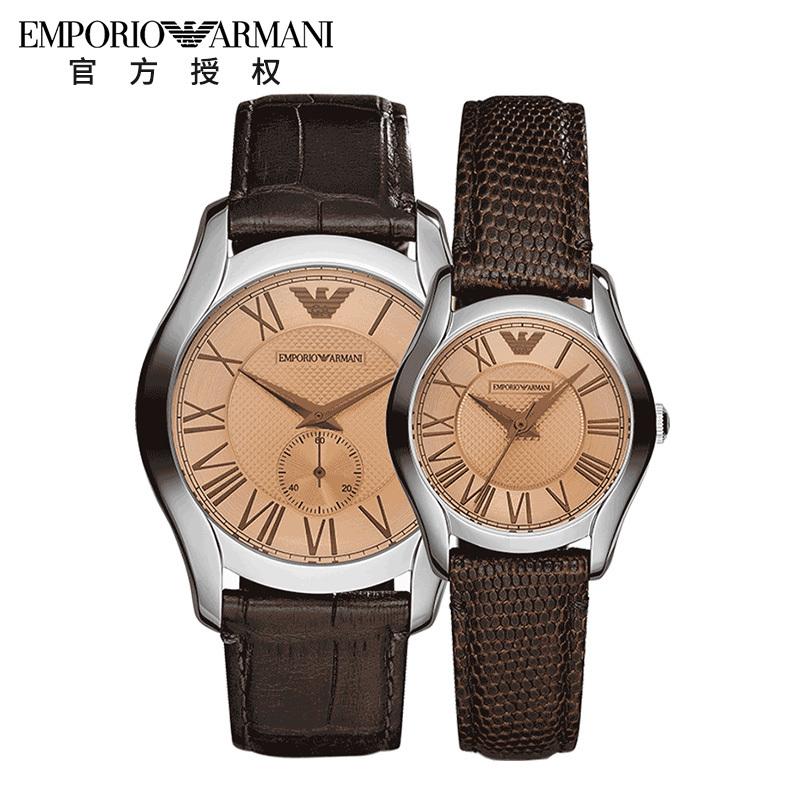 Armani/阿玛尼手表 罗马数字刻度镂空双针棕色情侣手表AR9110