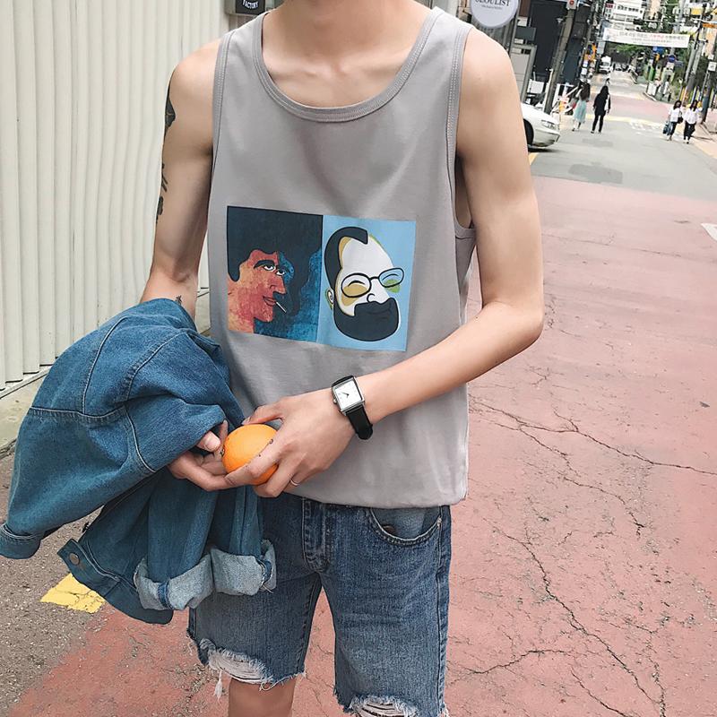 日系休闲背心男宽松打底衫韩版运动坎肩男装无袖t恤篮球跨栏上衣