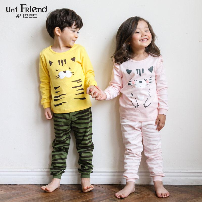 unifriend童装儿童家居服秋 长袖纯棉 2017新款进口睡衣女男套装