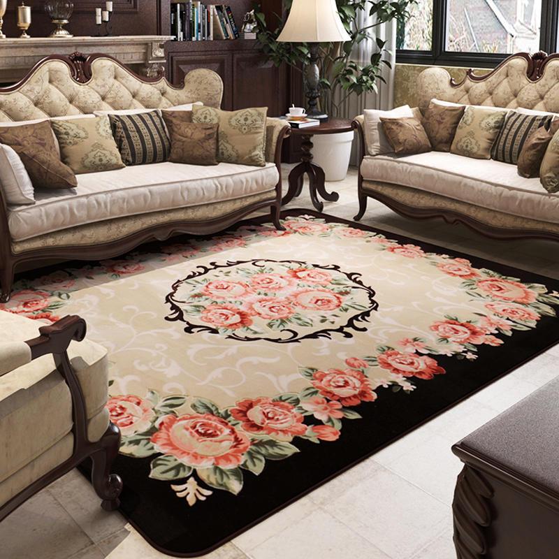 众弘 地毯客厅欧式茶几可机洗卧室长方形布艺沙发玫瑰花 简约现代