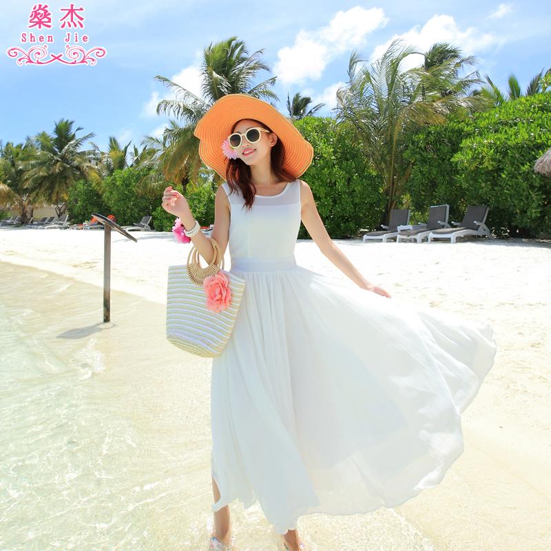�鼋� 新款波西米亚长裙沙滩裙雪纺大白色旅行海边度假连衣裙子