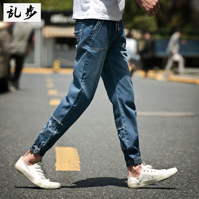 夏季男士拼接牛仔裤韩版修身小脚青少年哈伦裤男缩口九分束脚裤潮
