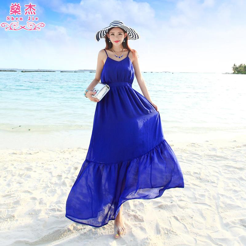 �鼋� 新款波西米亚度假长裙海边沙滩裙旅行吊带雪纺连衣裙长裙
