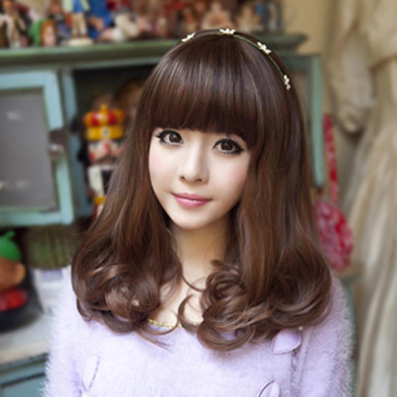 假发女梨花头齐刘海长卷发短发中长发型女士蓬松假发套整顶假头发