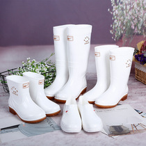 White Rain Boots men and women in the tube food hygiene boots rain boots non-slip wear-resistant kitchen water shoes water boots acid and alkali resistance to oil