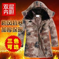 Desert camouflage coat military coat male Winter thick long section of cotton clothing winter clothing security coat labor protection cotton coat