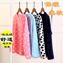 New pajamas single piece autumn and winter coral velvet ladies flannel thick warm long-sleeved hedge