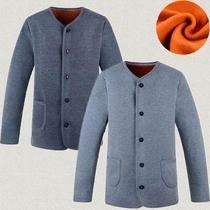 Sweater under autumn and winter old man cardigan warm clothes coat thickened male button fabric male off