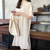 Korean version of the new single-breasted long shirt skirt loose thin 2018 Wild a word dress students female tide