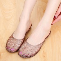 Summer bathroom slippers Crystal jelly shoes home female indoor Baotou plastic rubber slippers