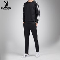 Playboy sports suit male couple Korean version of the casual youth running fashion trend Round Neck Long Sleeve three-piece
