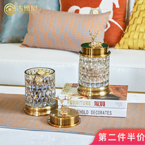 European-style transparent crystal glass candy cans American storage tank containers creative sugar cans living room decorations deer ornaments