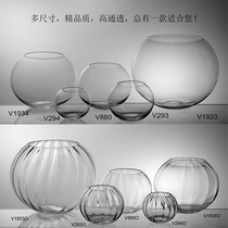 Transparent glass fish tank spherical fwring vase desk xuanguan piece hydroponicware home soft cabinet.