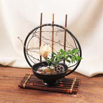 Mirror edge) Japanese purple bamboo flowers under the moon flower road bamboo flowers into the flower rack flower basket teahouse Zen set up vine flowers.