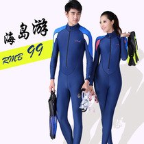 Diving suit couple female split sun long-sleeved large size piece swimsuit was thin quick-drying jellyfish clothing male snorkeling clothing