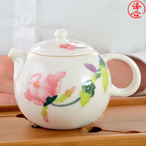 Kung Fu tea set small teapot single household tea light relief full of spring white jade porcelain lovely female hand-painted Xishi pot.