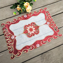 Foreign Trade European pastoral fabric embroidery table mat rectangular tablecloth coasters pad vase decorative pad tea mat