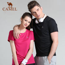 Camel outdoor short-sleeved men and women summer sweat breathable fitness round neck sports quick-drying T-shirt