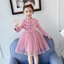 Girls dress autumn and winter 2019 New Style Plus velvet thickening Korean version of the Yang Qi little girl child fashion skirt yarn skirt
