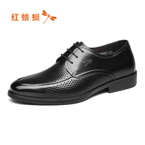 Red Dragonfly mens shoes summer new shoes fashion business dress casual shoes hollow sandals leather daddy shoes