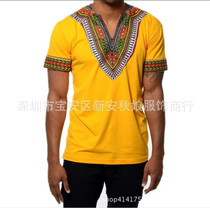 Printed V-collar short sleeve T-shirt for men