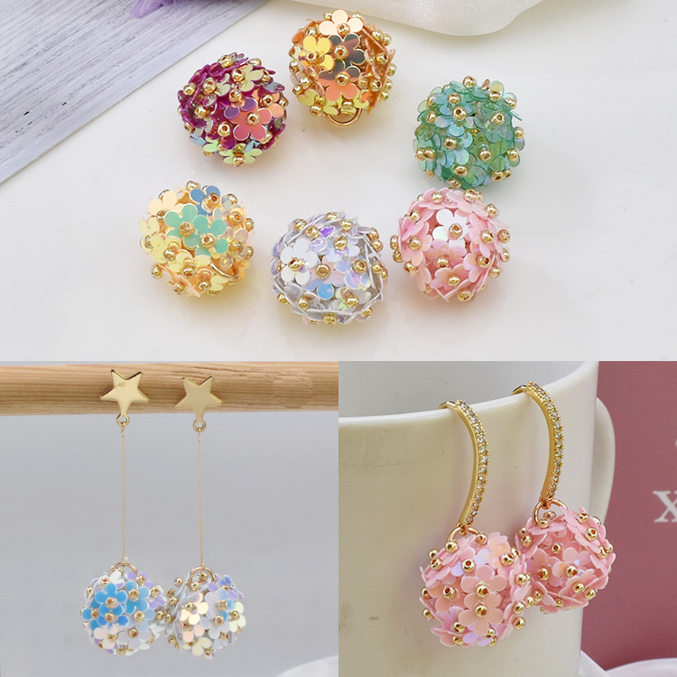 Flower ball hand-stitched laser sequin flower diy bead material earring necklace hair ring pendant accessories.