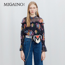 MI32AC016 Manu 2018 new autumn print horn sleeve lace top girl.