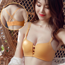 Beauty back bra female gather sexy small chest smooth seamless cross with Network Red Burst bra underwear summer thin section