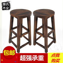 Solid wood bar stool high stool simple leisure stool retro bar stool round stool stool stool bar stool
