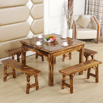 Solid wood table and chair combination restaurant restaurant farmhouse antique octa-sen table carbide wooden table and stool special price