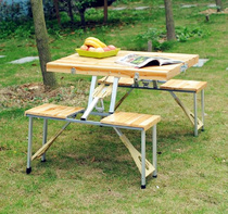 Outdoor folding table and chair Solid wood pine portable jumpsuit folding table and chair.