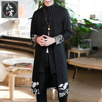 Spring and autumn Chinese style mens ancient Han Clothing in the long section of the windbreaker mens Tang suit cloak cotton and linen robe coat