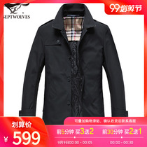 Seven wolves business windbreaker men in the long section of the 2019 autumn and Winter new middle-aged lapel jacket mens autumn coat