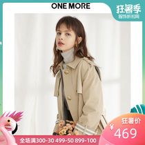 ONE MORE2019 spring new windbreaker female long section waist small jacket Korean single-breasted coat