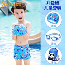 Youyou children swimsuit boy swim trunks split Small Medium Large child shark cartoon baby swimwear boy swimming suit