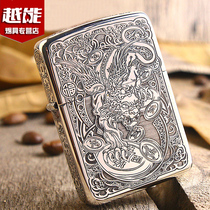 Zippo original genuine sterling silver armor windproof kerosene lighter lucky brave men Limited gift chibao