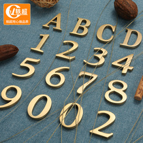 Yichao hotel residential door number Home pure copper custom Villa Metal three-dimensional digital door number brass