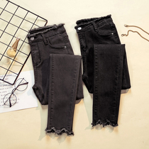 Spring and autumn stretch high waist edge pencil jeans black and gray thin nine points feet pants summer large fat mm female thin