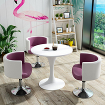 Simple reception table and chair combination milk tea shop to discuss the table shop visitor office leisure small round table chair