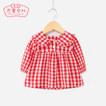 Baby doll collar primer shirt 1 year old 3 children girls lapel shirt cotton spring 2-5 female baby long-sleeved T-shirt
