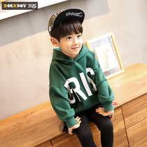 Left West boy plus cashmere sweater children hooded shirt thickening large childrens style Korean version of the tide autumn and winter 2019 New